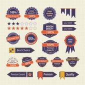 Set of Vintage Retro Premium Quality Labels Badges Buttons and Icons Vector Design Elements