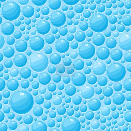Illustration for Light Blue Round Bubbles in Seamless Vector Pattern - Royalty Free Image