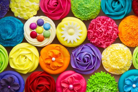Photo for Array of colorful cupcakes - Royalty Free Image