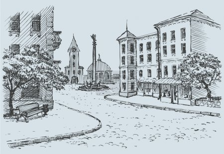 Vector cityscape. Old street access to the main square