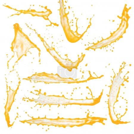 Photo pour Collection d'éclaboussures de jus d'orange haute résolution isolées sur blanc - image libre de droit