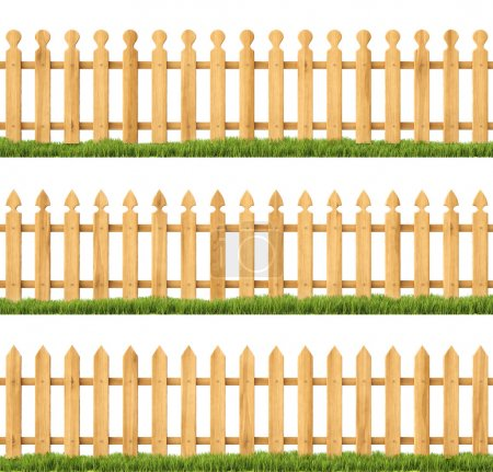 Photo for Set of wooden fences with grass. Isolated on white. - Royalty Free Image