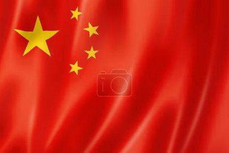 Photo pour Drapeau de la Chine, rendu en trois dimensions, texture satin - image libre de droit