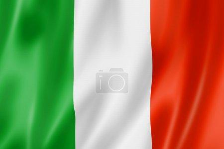 Italy flag, three dimensional render, satin textur...