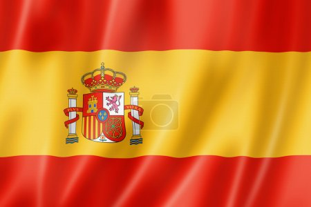Spain flag, three dimensional render, satin textur...