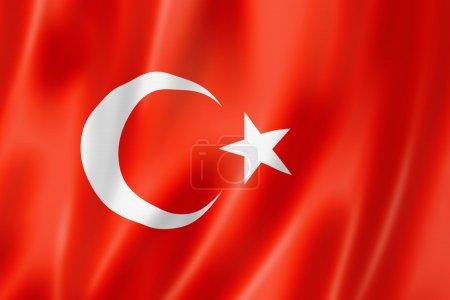 Photo pour Drapeau de la Turquie, rendu en trois dimensions, texture satin - image libre de droit