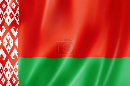 Photo pour Drapeau Belarus, rendu tridimensionnel, texture satinée - image libre de droit