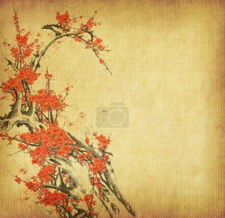 Spring peach blossom on Old antique vintage paper background