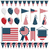 Collection of united states of america decorations isolated on white
