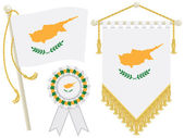 Cyprus flag rosette and pennant isolated on white
