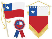 Chile flag rosette and pennant isolated on white