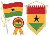 Ghana flag rosette and pennant isolated on white
