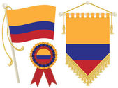 Colombia flag rosette and pennant isolated on white