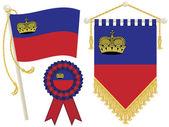 Liechtenstein flag rosette and pennant isolated on white