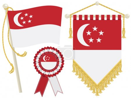 Illustration for Singapore flag, rosette and pennant, isolated on white - Royalty Free Image