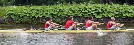 Coxed four on a canal