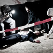 A cross processed murder scene with two forensic a...