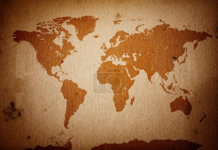 Photo for World map placed on a detaild scan of a grunge, dirty paper. - Royalty Free Image