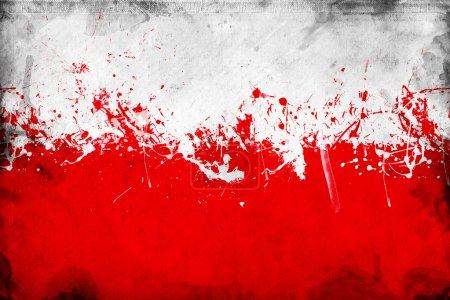Photo pour Drapeau polonais de grunge, image est superposer une texture grungy détaillée - image libre de droit