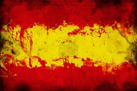 Photo pour Drapeau espagnol grunge, image est superposer une texture grungy détaillée - image libre de droit
