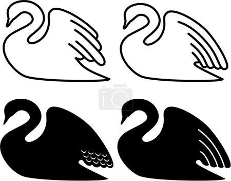 Illustration d'un cygne nageant .