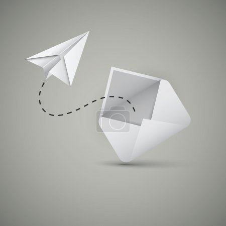 Illustration pour Message d'une enveloppe apportée par un avion en papier - Conception conceptuelle en format vectoriel modifiable - image libre de droit