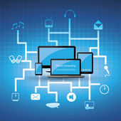 Blue Cloud Computing Concept Design in Editable Vector Format