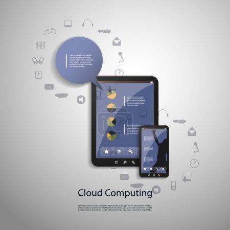 Ilustración de Concepto de diseño en formato vectorial editable de la computación en nube azul - Imagen libre de derechos