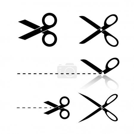 Set of Black Isolated Scissors Illustrations Clipa...