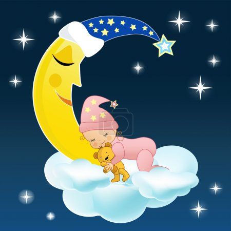 Illustration for The baby sleeps on a cloud. Vector illustration. - Royalty Free Image