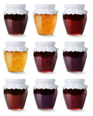 Photo for Glass jars with homemade jam isolated on white - Royalty Free Image