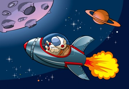 Illustration for Spaceship with astronaut approaching a planet, vector illustration - Royalty Free Image