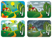 Set of different weather landscapes: sunny cloudy overcast and rainy vector illustration