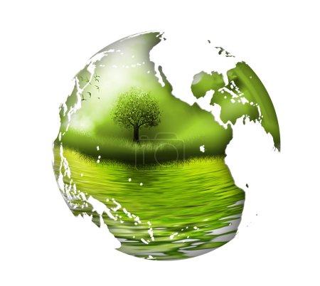 Foto de Planeta con el árbol interior - el concepto del medio ambiente - Imagen libre de derechos