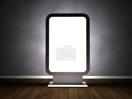 Photo pour Panneau d'affichage publicité vide dans la salle vide - image libre de droit