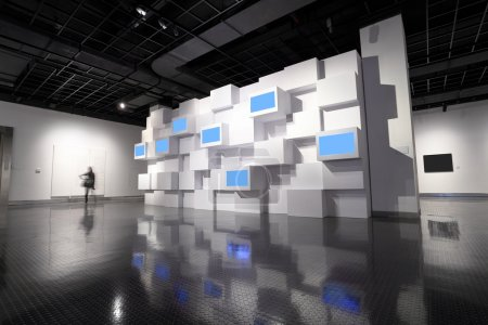 Photo for Video wall and a picture frame in a exhibition room - Royalty Free Image