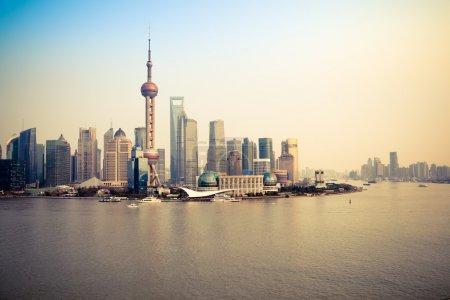 Shanghai pudong skyline and huangpu river at dusk...