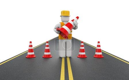 Repairman with traffic cones
