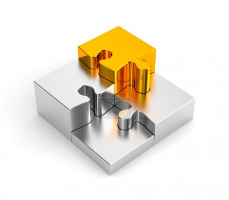 Podium from chrome puzzles, with one gold