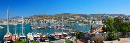 Panorama of the waterfront city of Bodrum in Turkey.