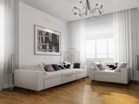 Photo for Living-room with the modern furniture. 3d render. - Royalty Free Image