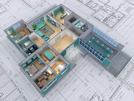 Cross-section of residential house. 3D image....