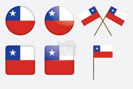 Badges with flag of Chile