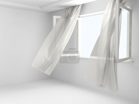 Photo for Open window with the curtains developed by a wind in an empty room. - Royalty Free Image