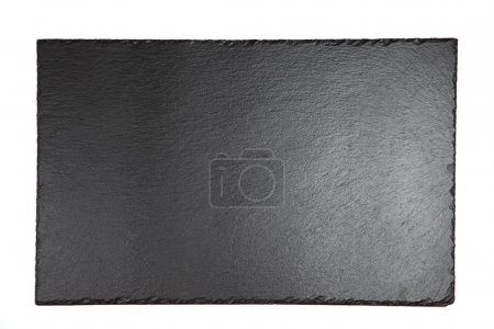 Black shale plate on white background