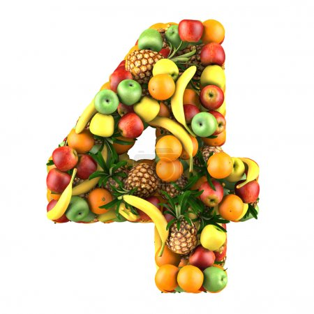 Photo for Number four made from 3d fruits. Isolated on a white. - Royalty Free Image