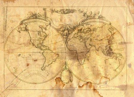 Photo pour Vintage carte du monde en style grunge - image libre de droit