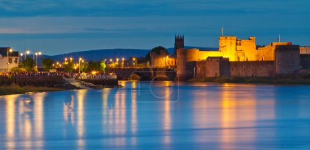 Photo for King john castle in Limerick city at dusk, Ireland - Royalty Free Image