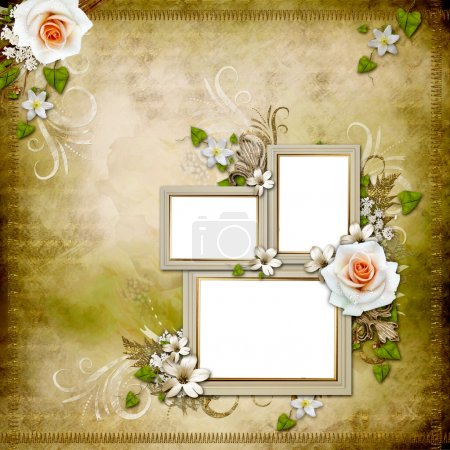 Vintage background with 3 frames and roses