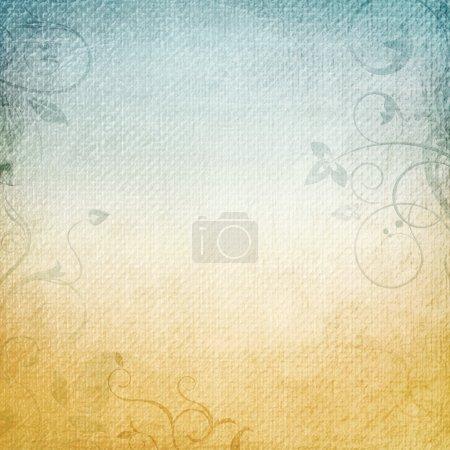 Photo pour Un fond de papier en beige et bleu avec les éléments floraux - image libre de droit